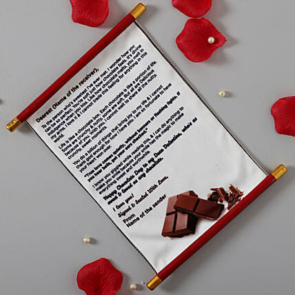 Chocolate Day Message Canvas Scroll