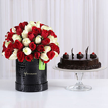 80 Red & White Roses Box with Black Forest Cake