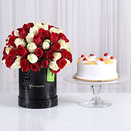 80 Red & White Roses Box with Pineapple Cake