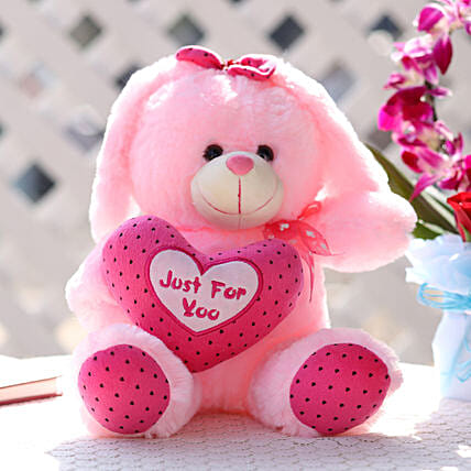 Small Bunny With Heart Pink