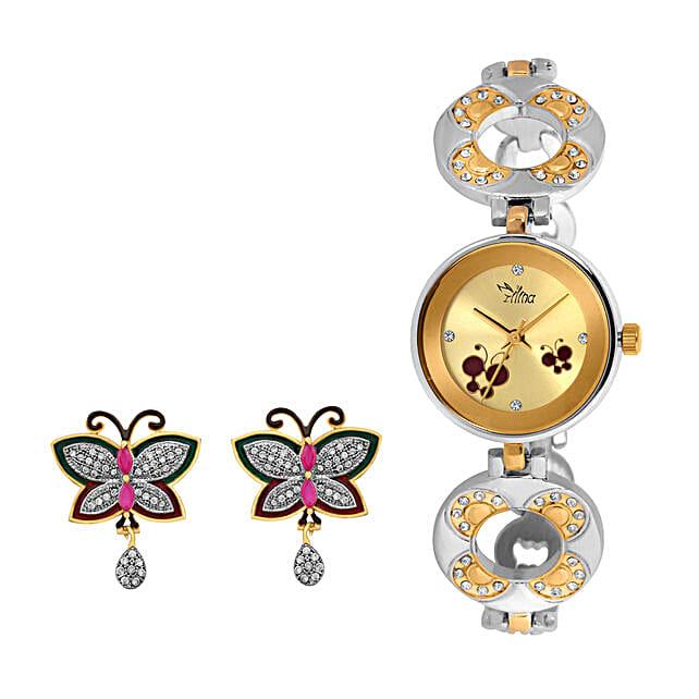 Personalised Watch & Butterfly Earrings Set