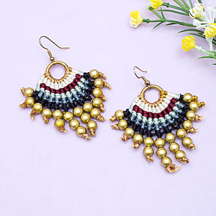 Colourful Gold Plated Tassel Earrings