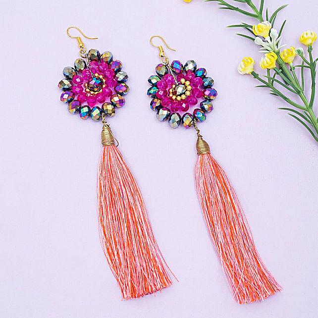 Pink Contemporary Tassel Earrings