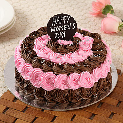 Decorated Women's Day Truffle Cake- 1 Kg Eggless