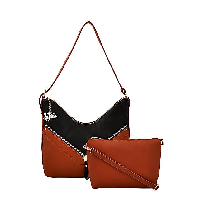 LaFille Stylish Handbag Set- Black & Brown