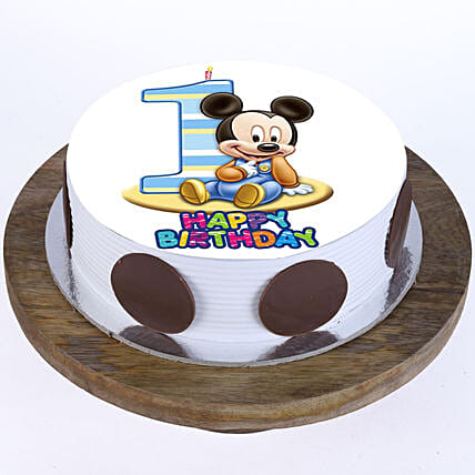 Mickey Mouse 1st Bday Vanilla Cake 1Kg Eggless