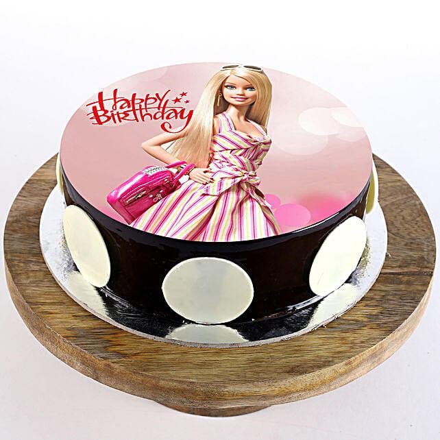 Cute Barbie photo cake
