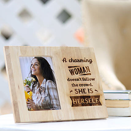 Online Women's Day Wooden Photo Frame