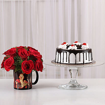 roses bunches in customized printed mug or cake online