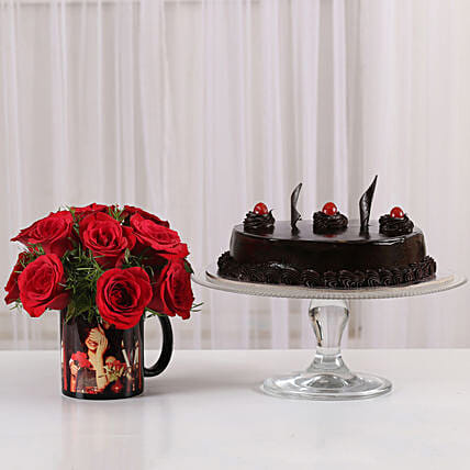 red roses n personalized mug n delicious cake combo
