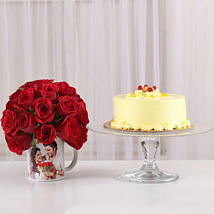 sweet celebration with butterscotch cake n 20 red roses in mug