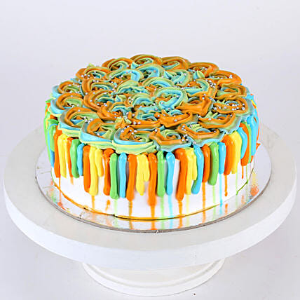 Colorful Floral Holi Orange Cake- 1.5 Kg Eggless