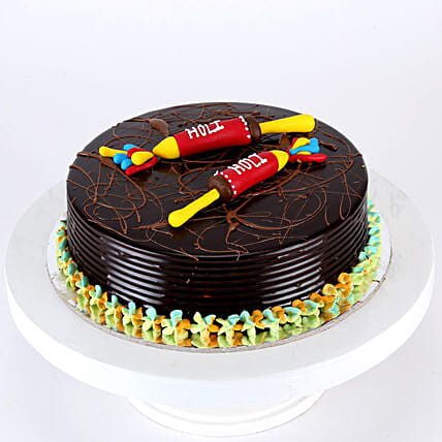 Holi Special Pichkari Truffle Cake- Half Kg Eggless