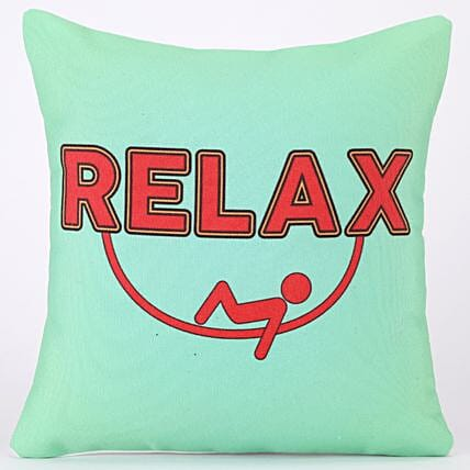 Relax Quirky Printed Green Cushion Cover