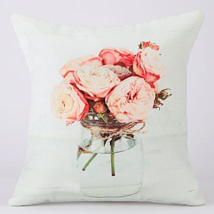 Flowers In The Vase Printed White Cushion Cover