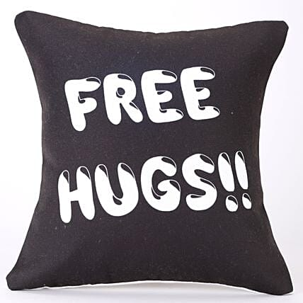 Free Hugs Quirky Printed Black Cushion Cover