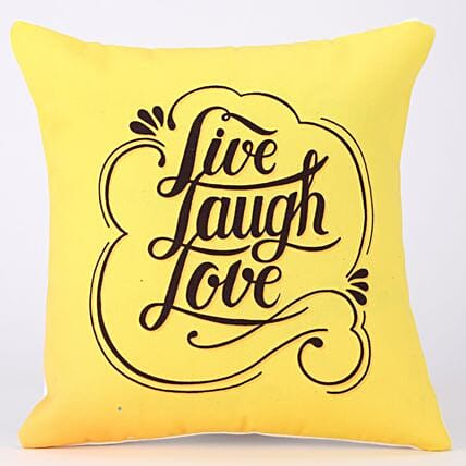 Live Laugh Love Printed Yellow Cushion Cover