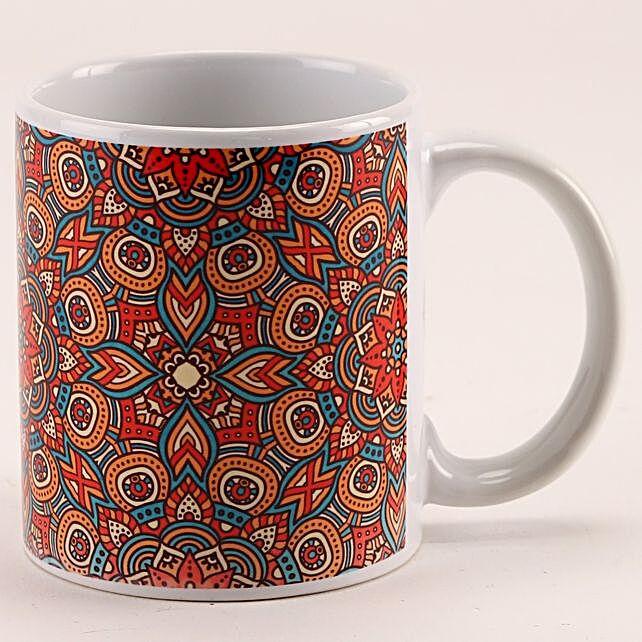 Colourful Abstract Design Printed White Mug