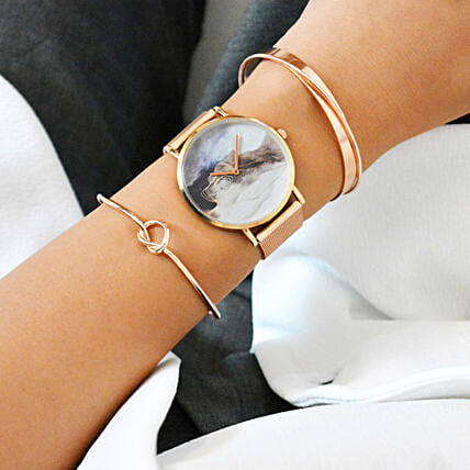Rose Gold White Graphic Watch