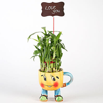 Two Layer Bamboo Plant In Yellow Smiley Pot With Love You Tag