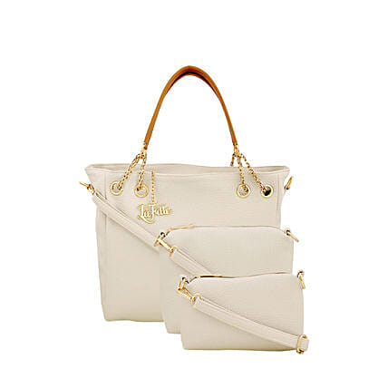 3 set of stylish white handbag