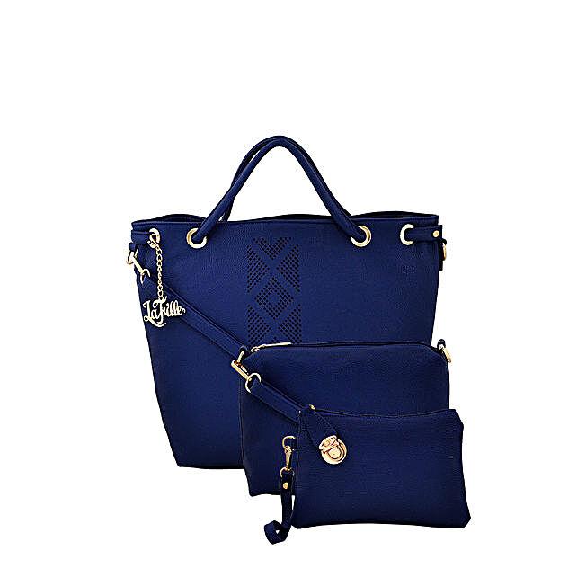 LaFille Elegant Blue Handbag Set
