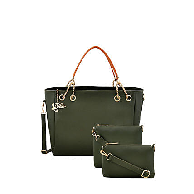 LaFille Green Womens Handbag Set