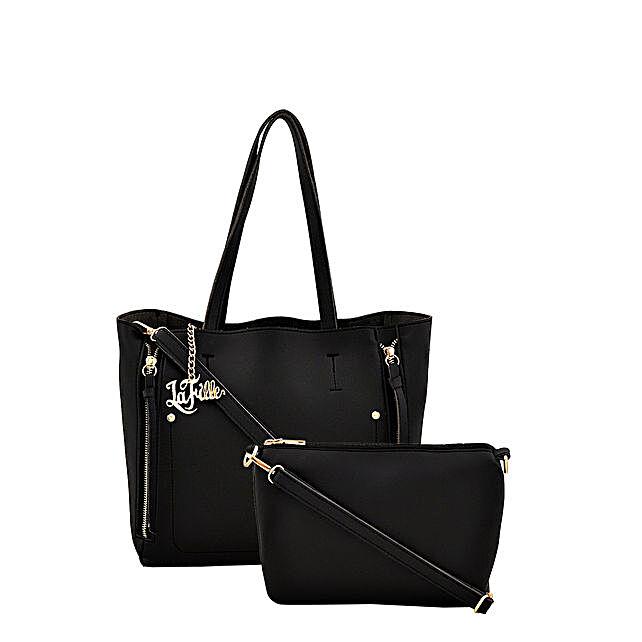 LaFille Voguish Black Handbag Set