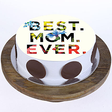 Best Mom Ever Vanilla Photo Cake- 2 Kg