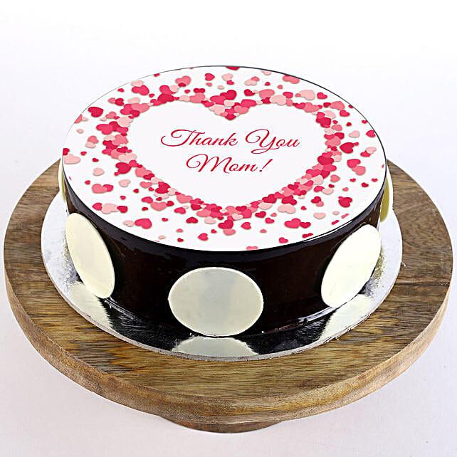Thank You Mom Chocolate Truffle Photo Cake- 1 Kg
