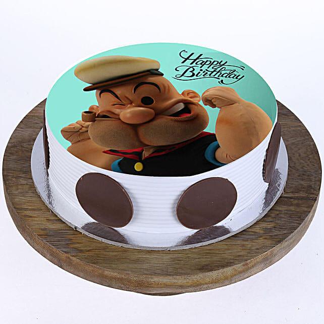 Popeye Cartoon Photo Cake- Pineapple 2 Kg Eggless