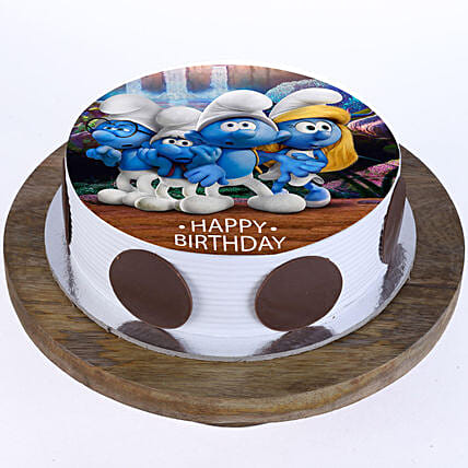 The Smurfs Photo Cake- Pineapple 1 Kg