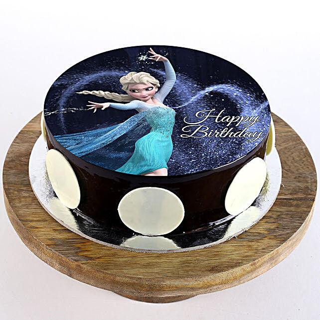 Elsa Chocolate Photo Cake- 1 Kg Eggless