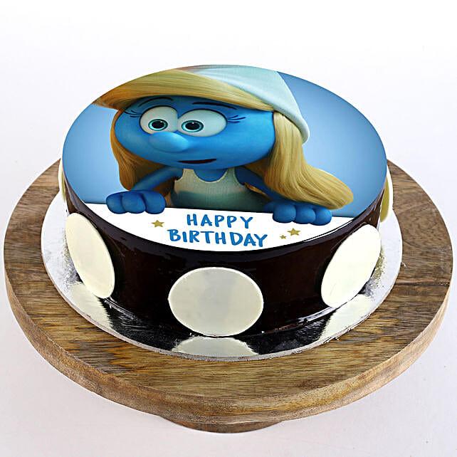 Smurfette Chocolate Photo Cake- 2 Kg