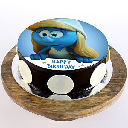 Smurfette Chocolate Truffle Photo Cake- 2 Kg Eggless