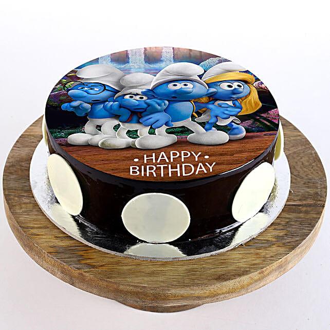 The Smurfs Chocolate Truffle Photo Cake- 1 Kg Eggless