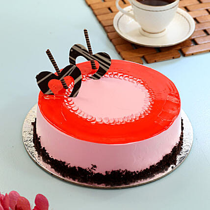 1.5 kg Eggless Red Glaze Strawberry Cake