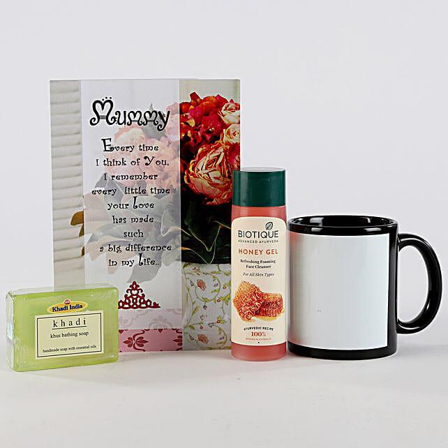 Sunrise Hamper for Mother-Artificial white flowers,painted mug,2 chalks,greeting card,khadi aloevera soap,biotique face cleanser 120gms