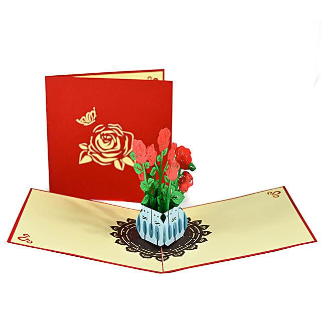 Handmade 3D Pop Up Rose Bouquet Card