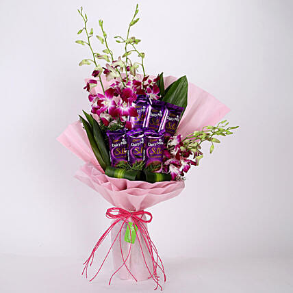 Online Bunch Of Orchids & Chocolates