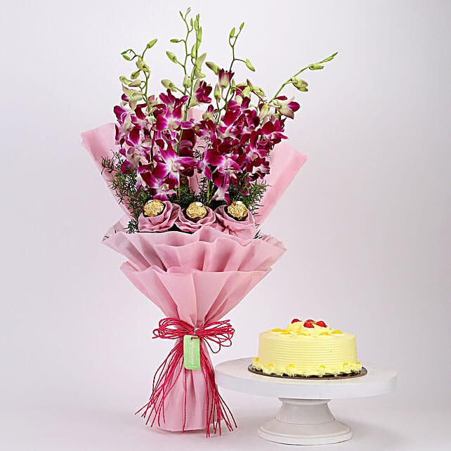 Online Butterscotch Cake and Ferrero Orchids Bouquet