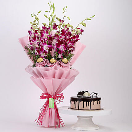 Online chocolate Cake and Ferrero Orchids Bouquet
