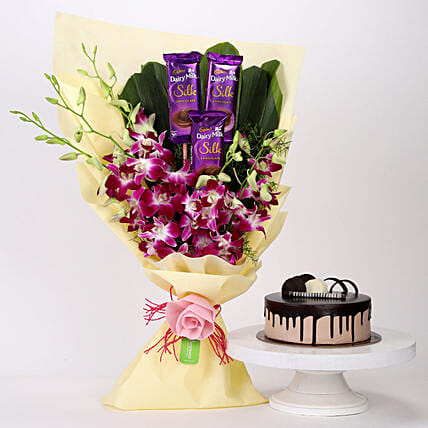 Online Dairy Milk & Orchids With Chocolate Cake