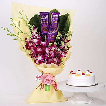 Online Dairy Milk & Orchids With Pineapple Cake