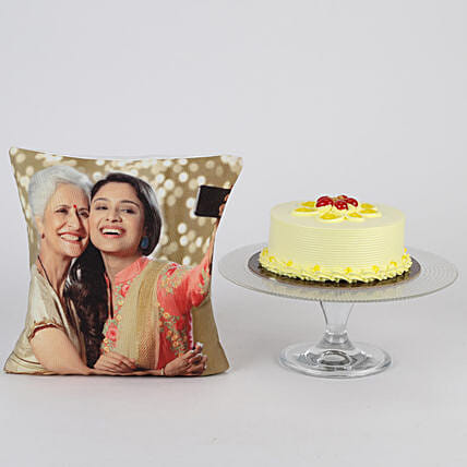 Online Mothers' Day Cake with Cushion Combo