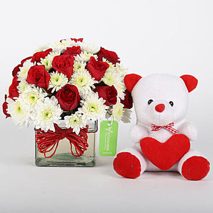 Roses n Daisies in transparent vase with teddy