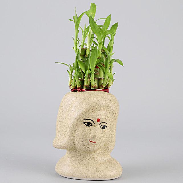 2 Layer Bamboo In Artistic Ceramic Pot