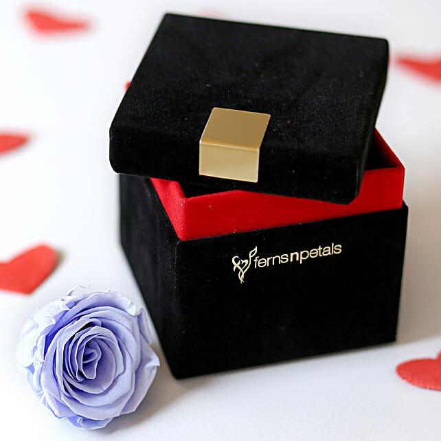 Lavender Blue Forever Rose In Velvet Box
