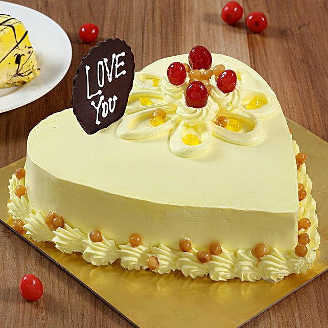 Heart Shaped Butterscotch Cake- 1 Kg Eggless