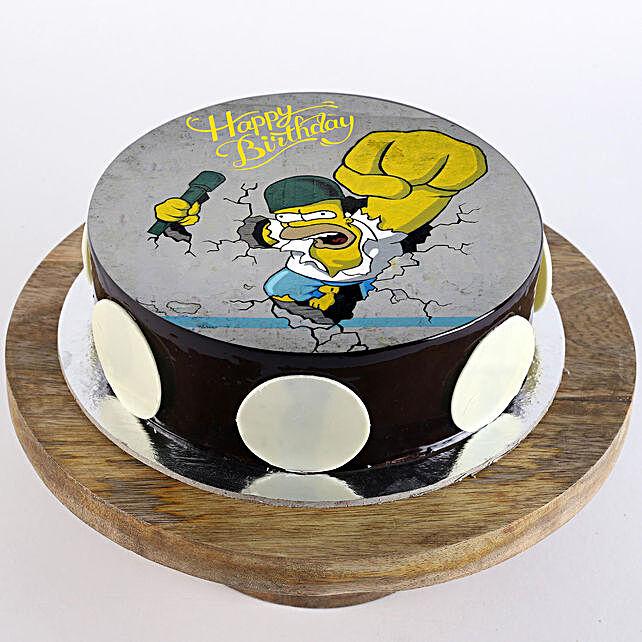 Homer Simpsons Chocolate Photo Cake- Half Kg
